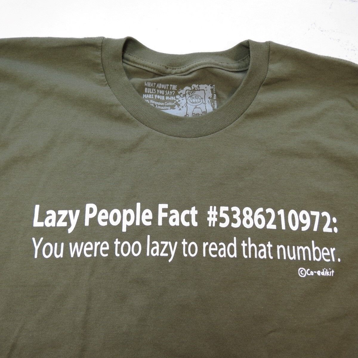 86d7d5283c Details about NEW NWT LAZY PEOPLE FACT TEE T SHIRT Sz Mens M funny Too Lazy  to read