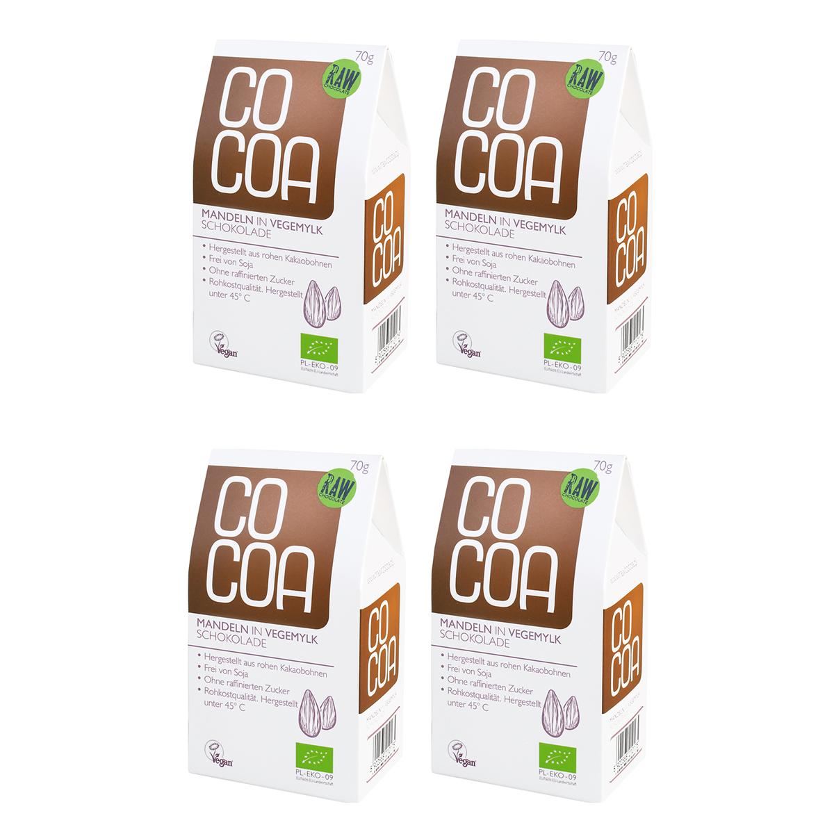 Raw Cocoa Bio Schokonüsse Mandeln in Vegemylk-Schokolade, 4 x 70 g, Ungeröstet