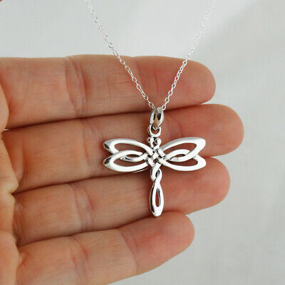 Celtic Dragonfly Pendant Necklace 925 Sterling Silver Irish Knot Insect Wings