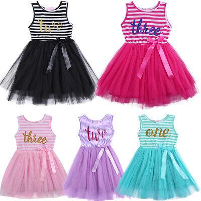 Kleinkind Geburtstag Kleider (Kleinkinder Baby Mädchen Geburtstag Kleid Ärmellos Streifen Partykleid Festkleid)
