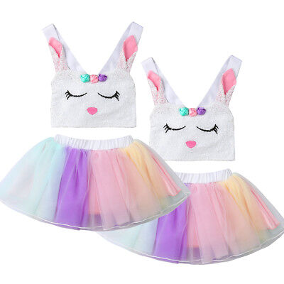 US Kids Baby Girl Rabbit Vest Top+Rainbow Tutu Skirt Costume Cosplay Party Dress - Baby Rabbit Costume