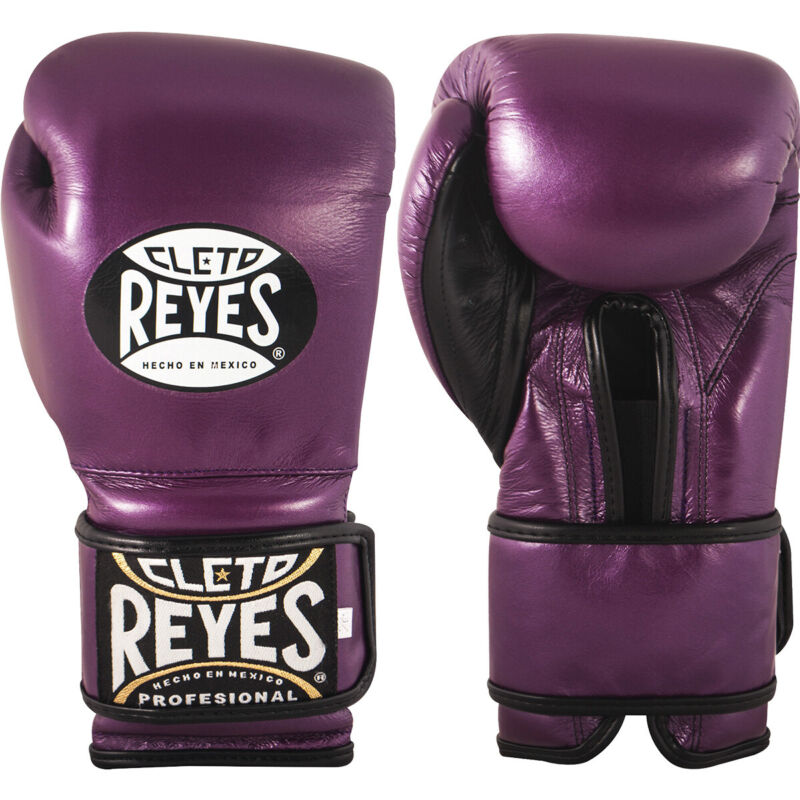 Cleto Reyes Hook and Loop Leather Training Boxing Gloves - Purple