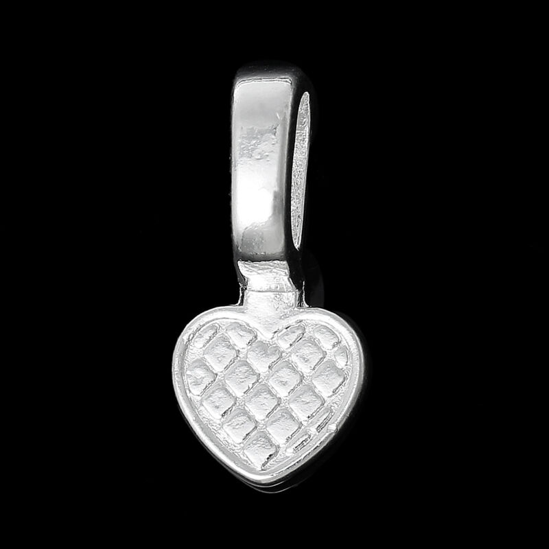 50 Glue on Heart Bails Pendant Hanger Silver Plated 22x10mm