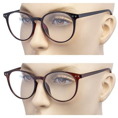Large Oversized ROUND READING Glasses Horn Clear Lens Thin Frame Nerd Glasses b