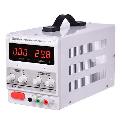 Adjustable Power Supply 30v 5a 110v Precision Variable Dc Digital Lab Wclip New