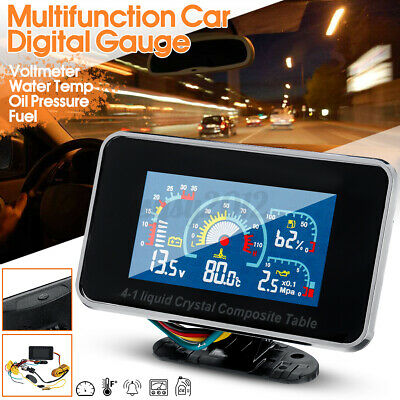 4 In1 LCD Car Digital Alarm Gauge Voltmeter Oil Pressure Fuel Water Temp 12V-24V