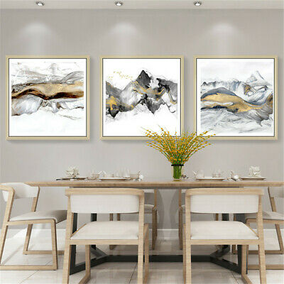 Abstract Gold Mountain Landscape Poster Canvas Wall Watercolor Picture Art Decor