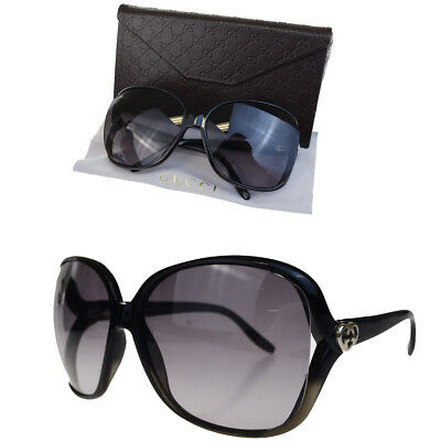 Authentic GUCCI GG Logos Sunglasses Eye Wear Plastic Black Silver Italy 02BC032