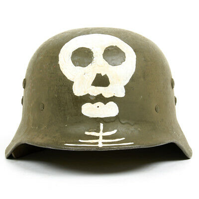 For sale Original WWII Hungarian M38 Steel Helmet w/ Finnish Totenkopf- Size 7 1/8, 57cm