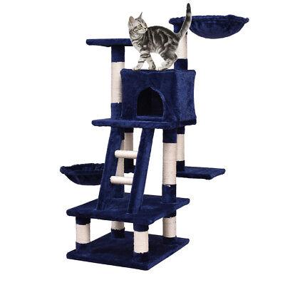 "46"" Cat Tree Kitten Pet Engage House Furniture Condo Scratching Posts Ladder Navy"