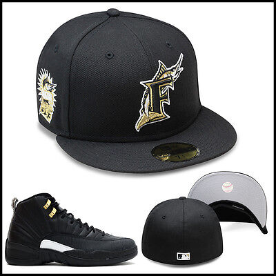 New Era Florida Marlins Fitted Hat Black/Gold/1993 Inaugural Season Side - Black Gold Fitted Hats