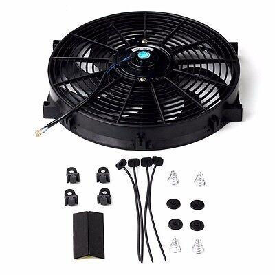 "14"" inch Universal Slim Fan Push Pull Electric Radiator Cooling 12V Mount Kit"