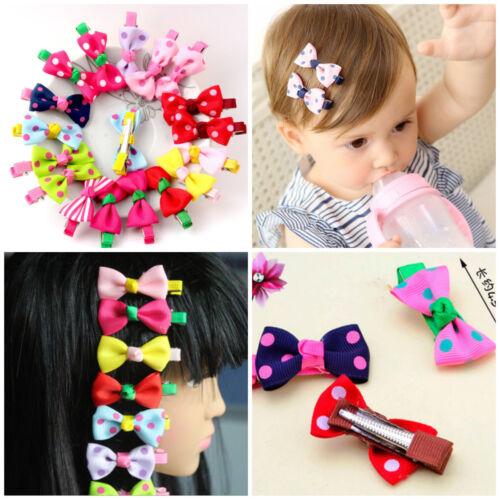 10pcs Lovely Toddler Girl Point Hair Clip Ribbon Bow Baby Kids Bowknot Headband