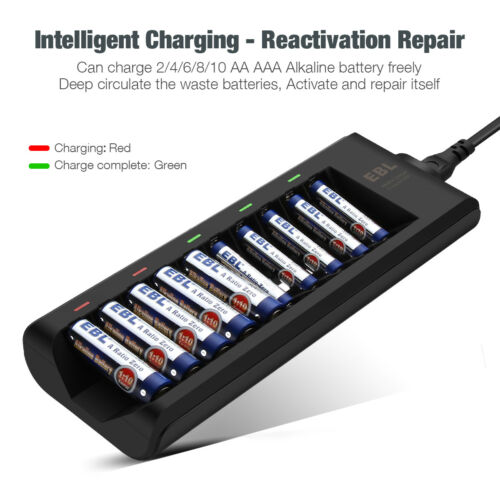 EBL 10-Bay Alkaline Battery Charger for Disposable AA AAA Alkaline Batteries USA