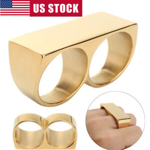 Two Fingers Double Ring Stainless Steel Men's Hip Hop Style Jewelry Gold Ring US