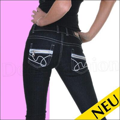 Silver Jeans Jeans Bestickt (NEU 🌸 Sexy BLACK Denim Jeans MY VIVI Silver Stitchery ZIP Style 🌸 34 38)