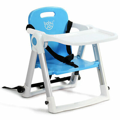 Baby Seat Booster Folding Travel High Chair W/ Safety Belt & Tray Home Bue