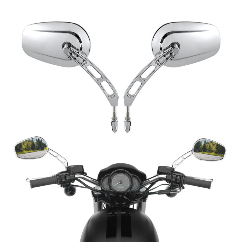 Motorcycle New Chrome Rearview Mirrors for Harley Davidson Flstc Fxdb Dyna Fxdf Flstf 8mm