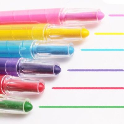 SET OF 6 TWISTABLE CRAYONS Easy Twist Up Wax Twister Extendable Colourful Pens