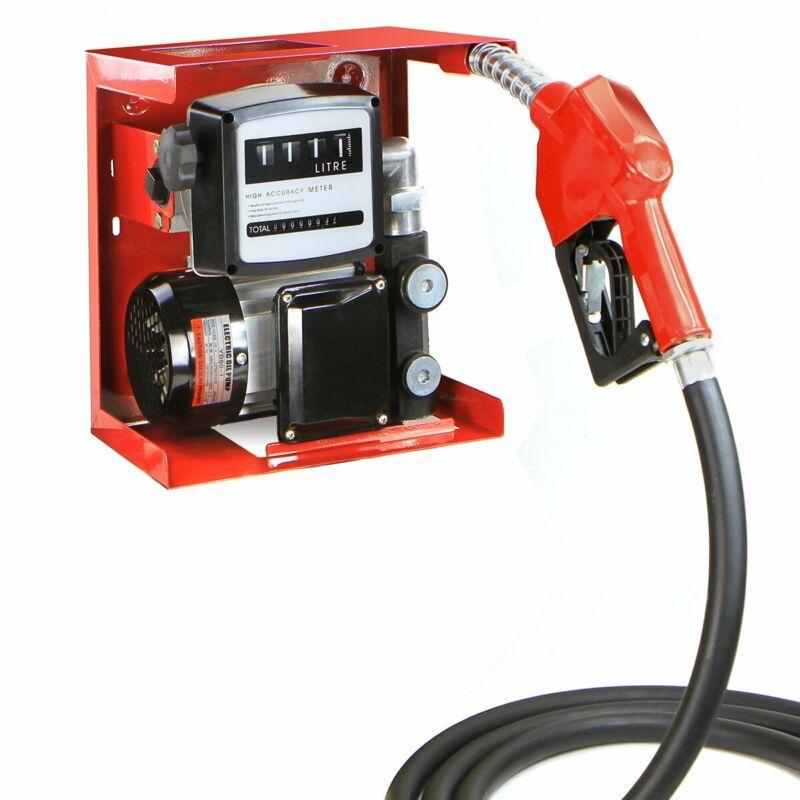110V Diesel Biodiesel Kerosene Transfer Fuel Pump Meter Automatic Fueling Nozzle