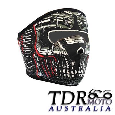 Halloween Skull Robot Full Face Neoprene Mask Motorcycle Bike Biker Riding (Robot Face Halloween)