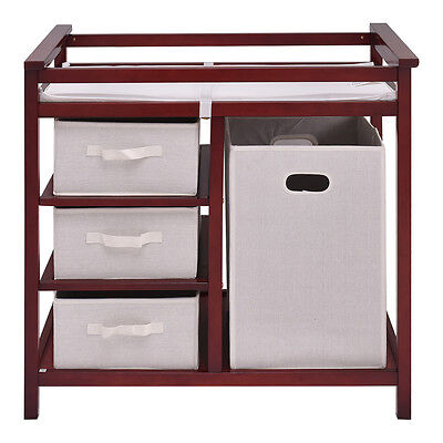 Cherry Infant Baby Changing Table w3 Basket Hamper Diaper Storage Nursery New