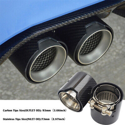 Pair Stainless Steel + Carbon Fiber Exhaust Pipe End Tip For BMW M -