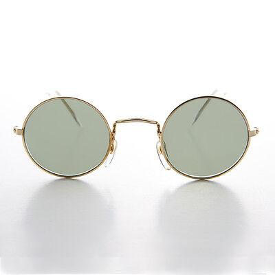 John Lennon Rund Gold Vintage Sonnenbrille mit Glas Linse - Johnny