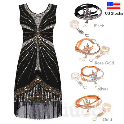 1920s Flapper Dress Great Gatsby 30s Costume Prom Gown Art Deco Sequins -
