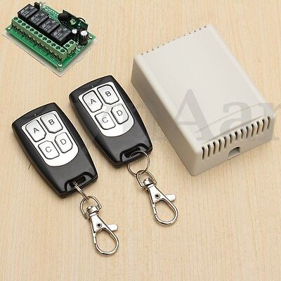 DC 12V 10A RELAY 1/2/3/4 CH Wireless Remote Control Switch Transmitter &Receiver