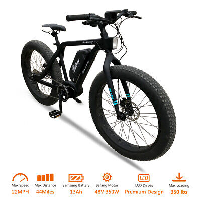 "Fat Tire Electric Bike 48V Mid Drive E-Bike 26"" Bafang Motor 13Ah Samsung"