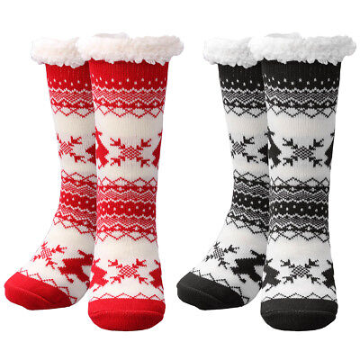 Best Gift Women Winter Thermal Knit Thick Slipper Socks Anti-Slip Bed Home