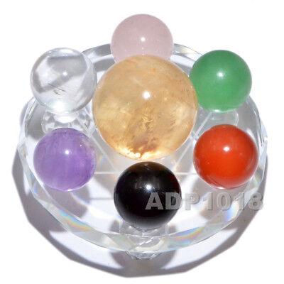 Natural 7 Chakra Healing Gemstone Ball Group Fengshui Seven Star Array Plate Set