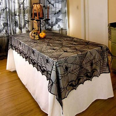 Halloween Haunted House Black Lace Web Tablecloth Table Cloth Party Decoration - Halloween Party Table Cloth