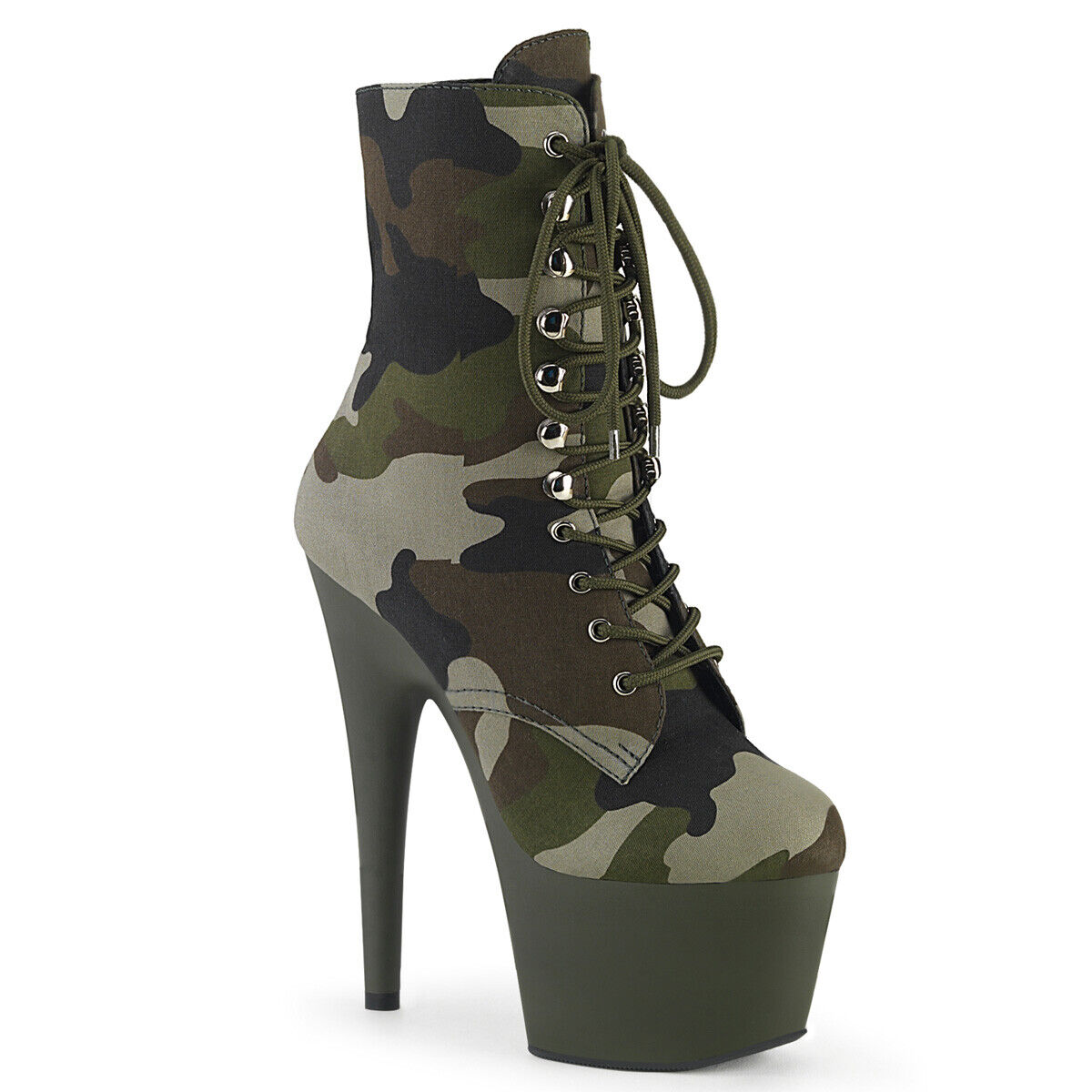 Green Camo Army Military Combat Stripper Ankle Boots Pleaser