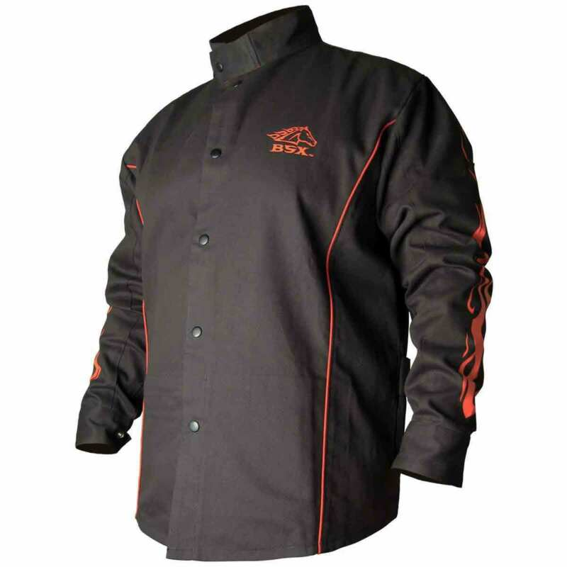 Black Stallion BX9C BSX Contoured FR Cotton Welding Jacket, Black/Flames, 2XL