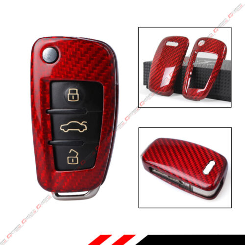 LUXURY RED CARBON FIBER CASE FOR AUDI A3 A4 A5 A6 A6 RETRACTABLE KEY FOB REMOTE
