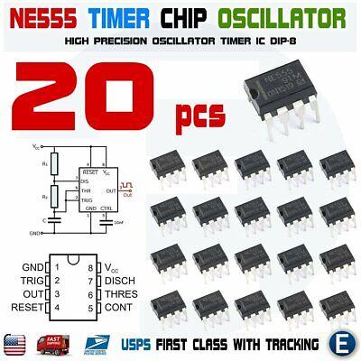20pcs Ne555p Ne555 Ic 555 High Precision Oscillator Timer Dip-8 Chip Usa