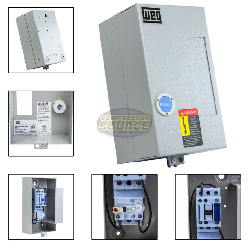 WEG 5 HP Single Phase Magnetic Starter Electric Motor Control NEMA 1 208-240 V