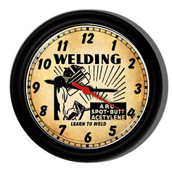 Welding Repair Welder Mask Acetaline Tools Iron Worker Vintage Look Wall Clock