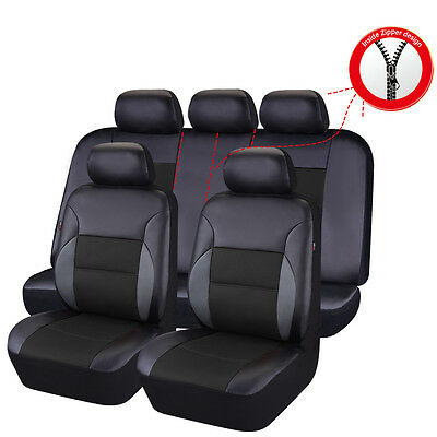 Four Pass Seat (CAR PASS Breathable PU leather Universal Full Set Black Four Year Car Seat)