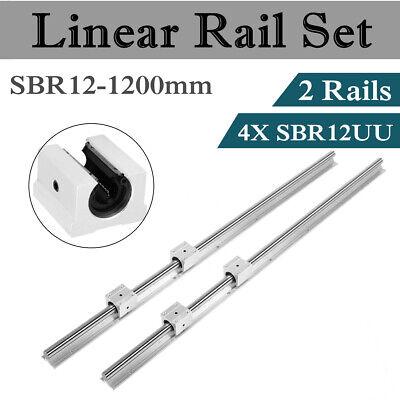 2pcs Sbr12-1200mm Linear Shaft Rail Fully Supported 4pcs Sbr12uu Slide Guide