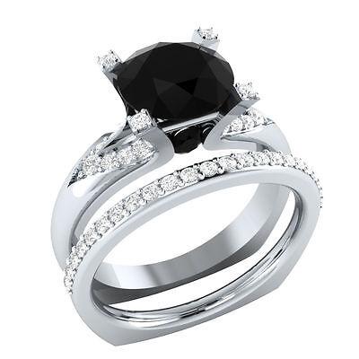 Certified 2.81ct Black Diamond 14k White Gold Engagement Bridal Ring set $$$