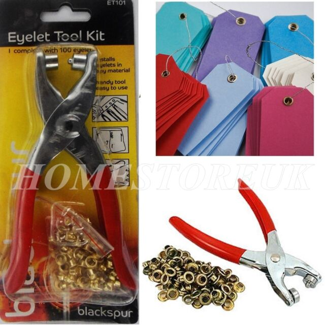 EYELET PLIERS HOLE PUNCH COMPLETE TOOL KIT SET WITH 100 BRASS EYELETS CRAFT T101