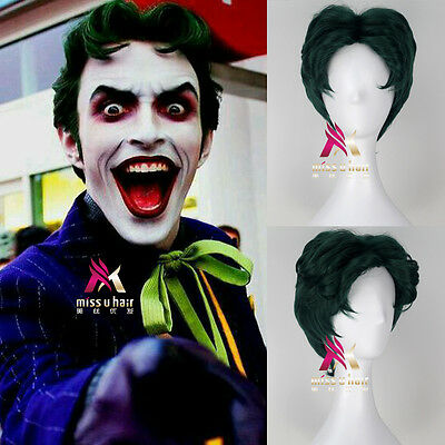 Men's Short Wavy Green Hair Joker Cosplay Costume Wig for Batman Suicide Squad
