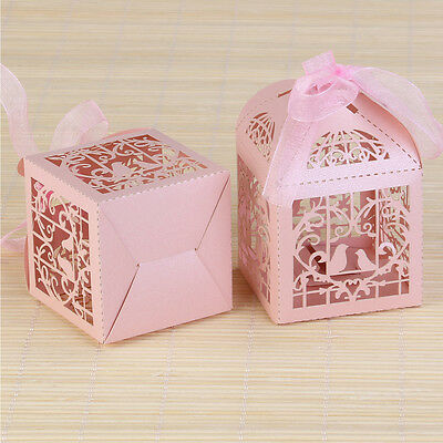 50pcs Wedding Laser Cut Favor Boxes Hollow Cut Love Birds Cage Shaped Candy Box