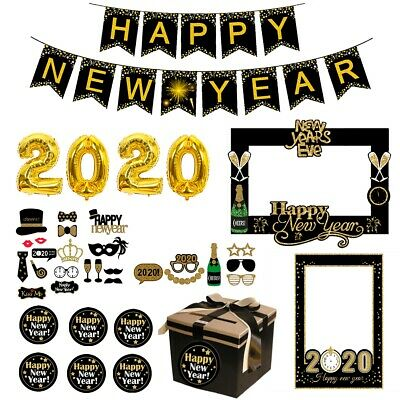 New Years Parties (Christmas Happy New Year 2020 Balloons Paper Photo Booth Props Party Decor)