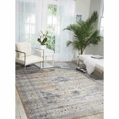 Kathy Ireland Home By Nourison Malta Rug Beige Ivory Grey & Blue 160cmx230cm