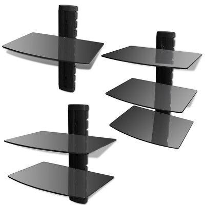 Aluminum Glass Shelf Bracket - Black Floating DVD Shelf Glass Aluminum Frame Bracket Wall Mounted 1/2/3 Tiers