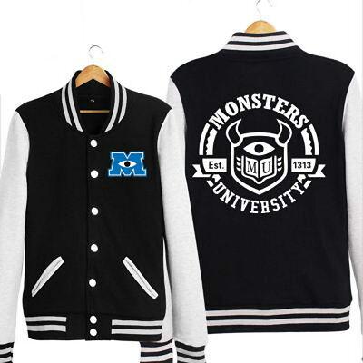 Monsters University Varsity  Red/Black/Blue Adult Baseball jacket Costume coat (Monsters University Costume)